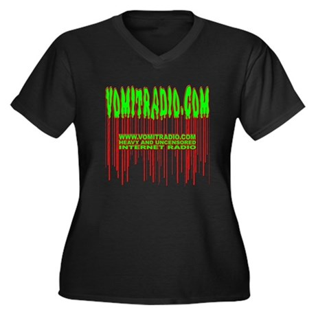 VomitRadio Women's Plus Size V-Neck Dark T-Shirt