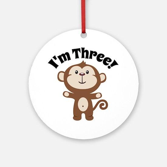 Monkey Im 3 Round Ornament