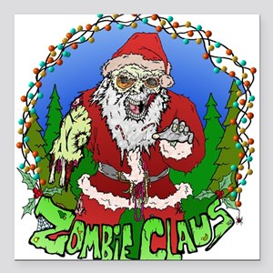 "Zombie Claus Square Car Magnet 3"" x 3"""