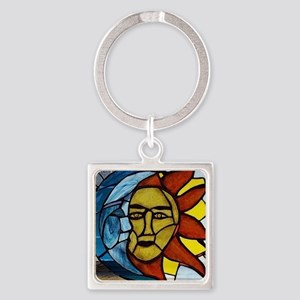Moon and Sun Stained Glass Panel Keychains
