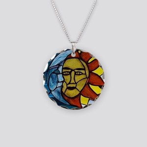 Moon and Sun Stained Glass Panel Necklace