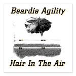 Beardie Agility: Hair In The Air Square Car Magnet