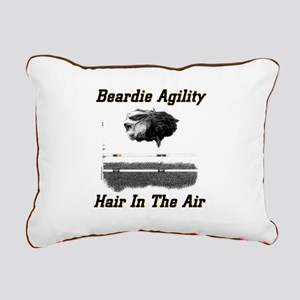 Beardie Agility: Hair In The Air Rect Cnvas Pillow