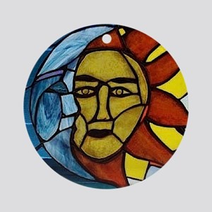 Moon and Sun Stained Glass Panel Ornament (Round)