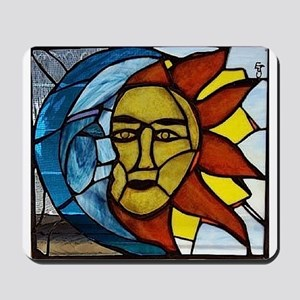 Moon and Sun Stained Glass Panel Mousepad