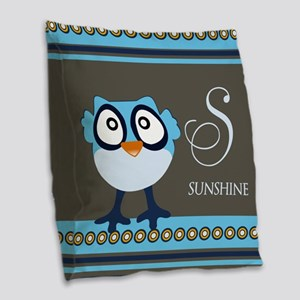 Custom Name Blue Owl Burlap Throw Pillow