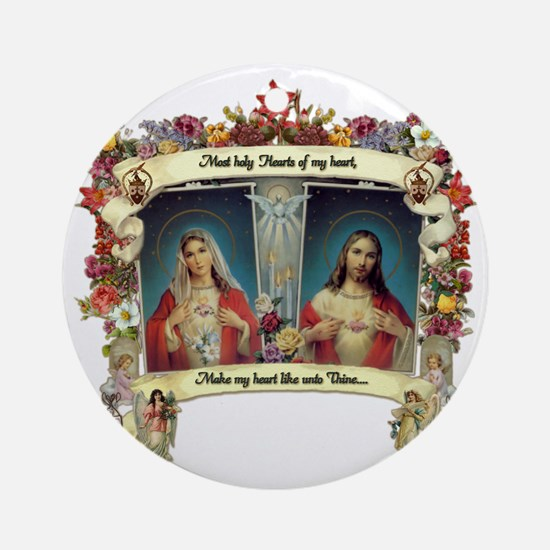 Sacred and Immaculate Hearts Ornament (Round)
