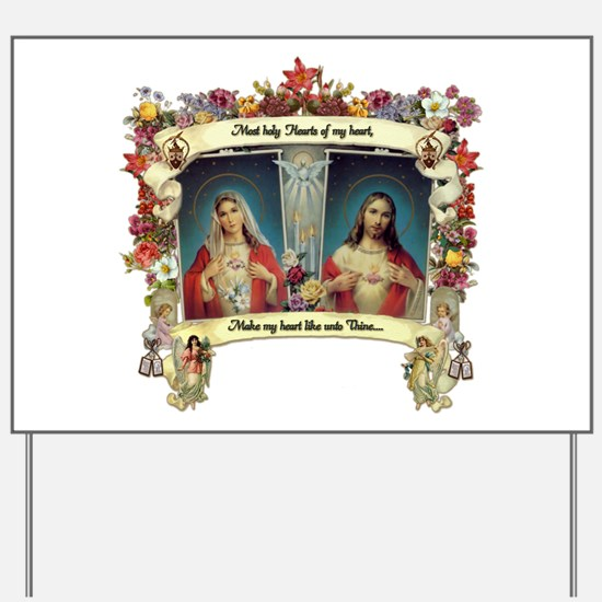 Sacred and Immaculate Hearts Yard Sign