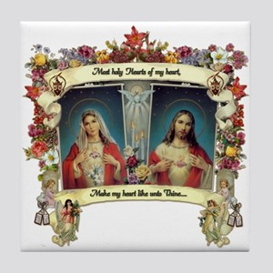 Sacred and Immaculate Hearts Tile Coaster