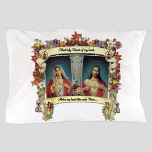Sacred and Immaculate Hearts Pillow Case