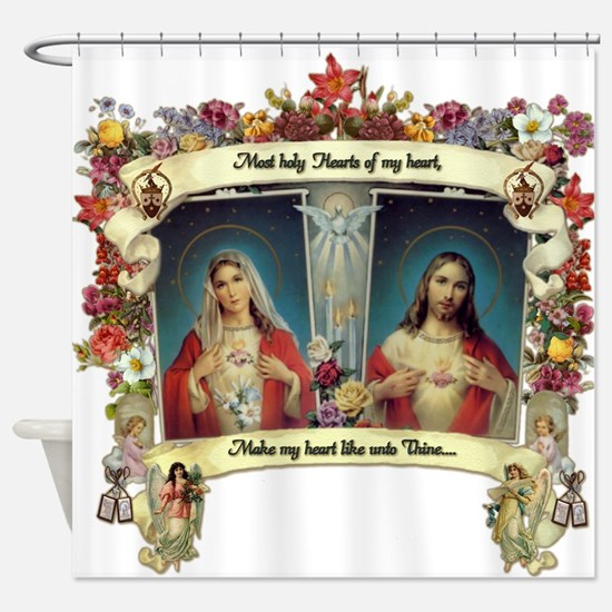 Sacred and Immaculate Hearts Shower Curtain