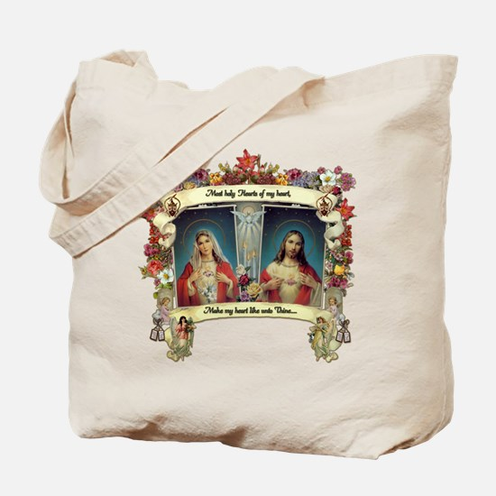 Sacred and Immaculate Hearts Tote Bag