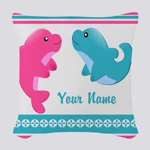Cute Dolphin - Personalized Woven Throw Pillow