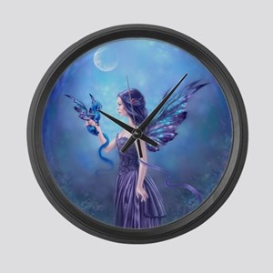 Iridescent Fairy and Dragon Art Large Wall Clock