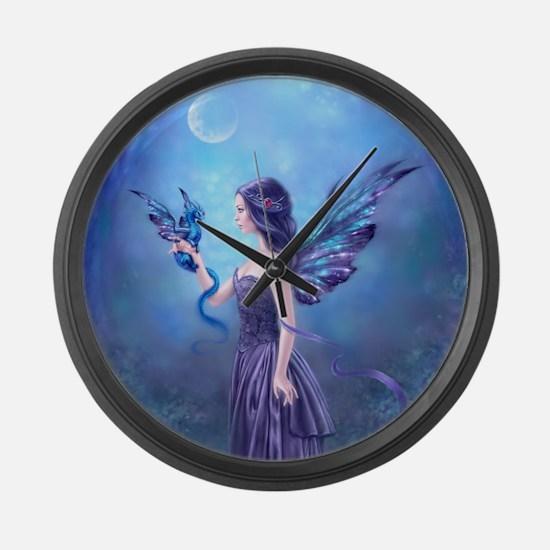 Iridescent Fairy and Dragon Art Large Wall Clock