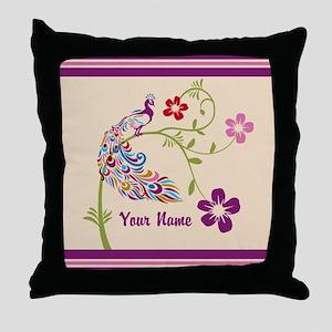 Personalized Elegant Peacock Throw Pillow