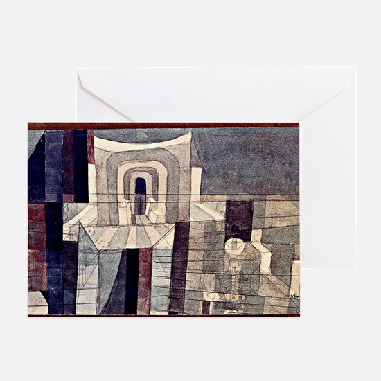 Klee - Architecture in Red and Green Greeting Card