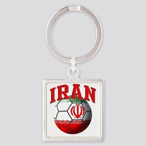 Flag of Iran Soccer Ball Square Keychain