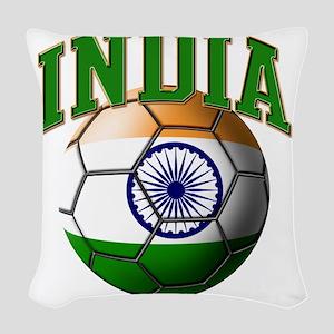 Flag of India Soccer Ball Woven Throw Pillow