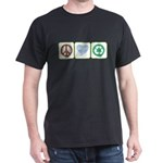 Peace, Love, Recycling Dark T-Shirt