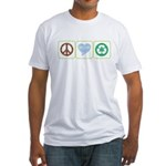 Peace, Love, Recycling Fitted T-Shirt