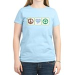Peace, Love, Recycling Women's Light T-Shirt