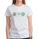 Peace, Love, Recycling Women's T-Shirt