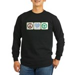 Peace, Love, Recycling Long Sleeve Dark T-Shirt