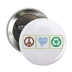 Peace, Love, Recycling Button