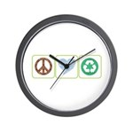 Peace, Love, Recycling Wall Clock