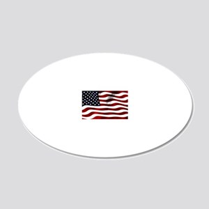 USA Flag 20x12 Oval Wall Decal