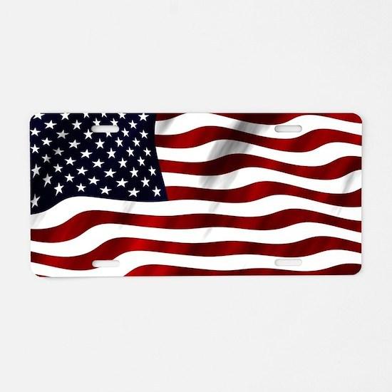 USA Flag Aluminum License Plate
