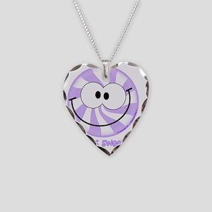 Purple Peppermint Smiley!  Li Necklace Heart Charm