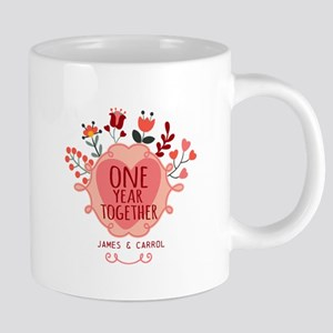 Personalized Retro Floral 1st Year Anni Mugs