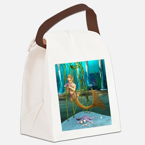 Little Mermaid holding Anemone Flower Canvas Lunch