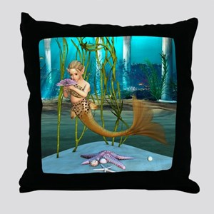 Little Mermaid holding Anemone Flower Throw Pillow