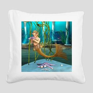 Little Mermaid holding Anemone Flower Square Canva