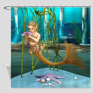 Little Mermaid holding Anemone Flower Shower Curta
