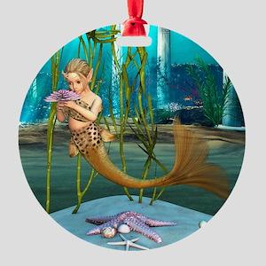 Little Mermaid holding Anemone Flower Ornament
