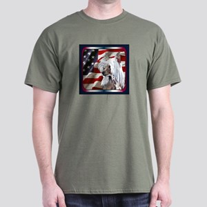 Chinese Crested USA Flag Dark Colored T-Shirt