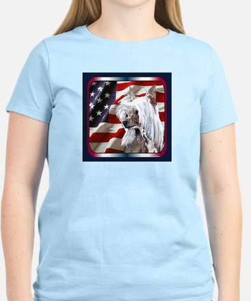 Chinese Crested USA Flag Women's Light T-Shirt