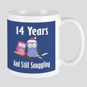 Cute 14th Anniversary Snuggly Owls Mugs