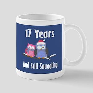 Cute 17th Anniversary Snuggly Owls Mugs