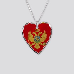 Flag of Montenegro Necklace Heart Charm