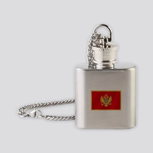 Flag of Montenegro Flask Necklace