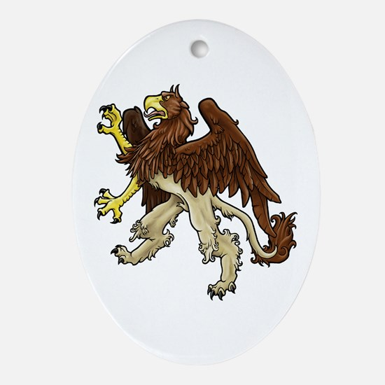 Heraldic Griffin Oval Ornament