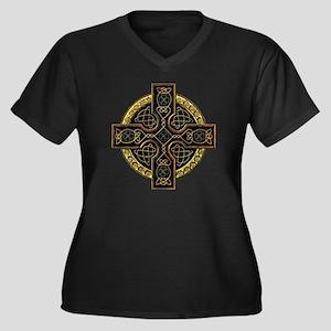 Celtic Cross Plus Size V-Neck Dark T-Shirt