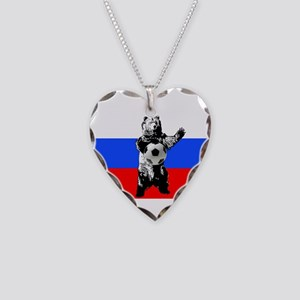 Russian Football Flag Necklace Heart Charm