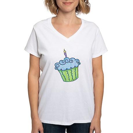 Cute Cupcake (blue) Women's V-Neck T-Shirt