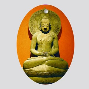 Indonesian Stone Buddha Oval Ornament